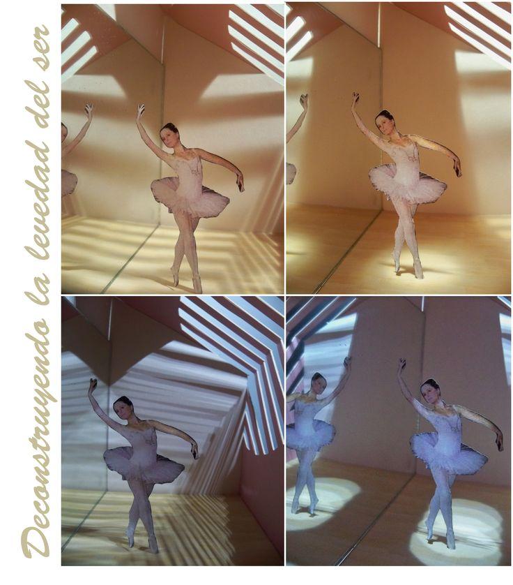 ''Interpretacion de la luz''  A partir del usuario (bailarina de ballet) se realizo una investigacion, hallando un concepto para identificar al usuario, el ''Ballet de el Lago de los Cisnes'', derivando la pluma como objeto principal para que se identificara en el espacio a traves de la luz, agregando luz cenital para dar la sensacion de un escenario,por medio de una desconstuccion del espacio, por lo tanto (Deconstruyendo la levedad del ser) como el titulo  lo indica.