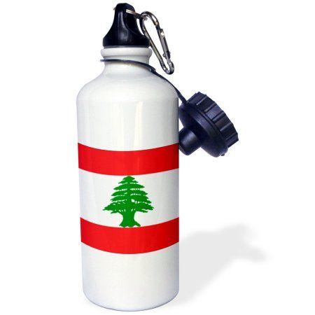 3dRose Lebanon Flag, Sports Water Bottle, 21oz, White