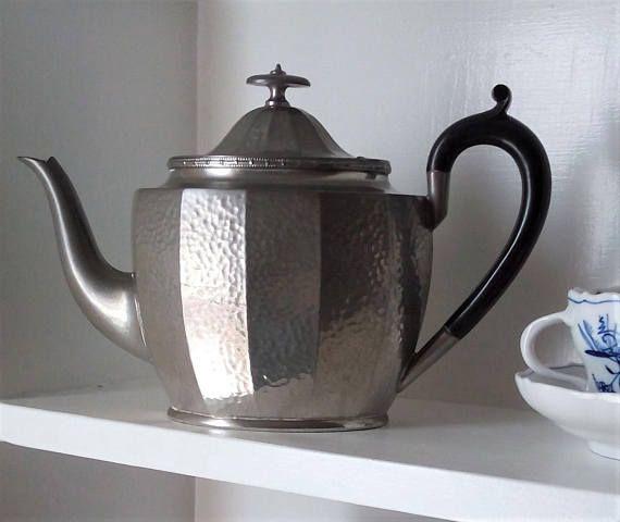 Vintage Teapot Pewter Art Deco Style Ebony Handle by Civic Pewter  #pewter #artdeco #civicpewter #silver #teapot #wantablethings #etsyvintage #etsyfinds #ebony #vintagehome #homedecor