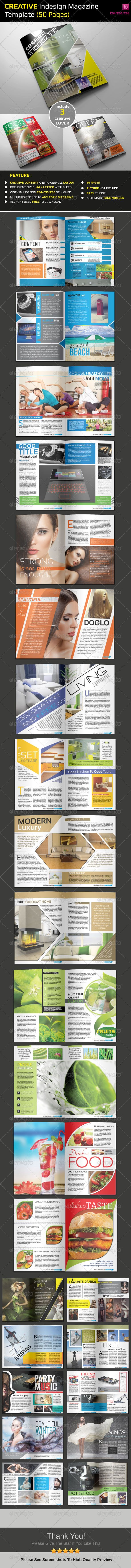 Creative Indesign Magazine Template (50 Pages) - Magazines Print Templates
