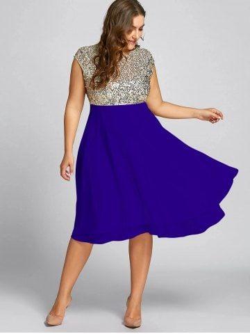 8d351846ea80bf Flounce Plus Size Sparkly Sequin Cocktail Dress - ROYAL - XL
