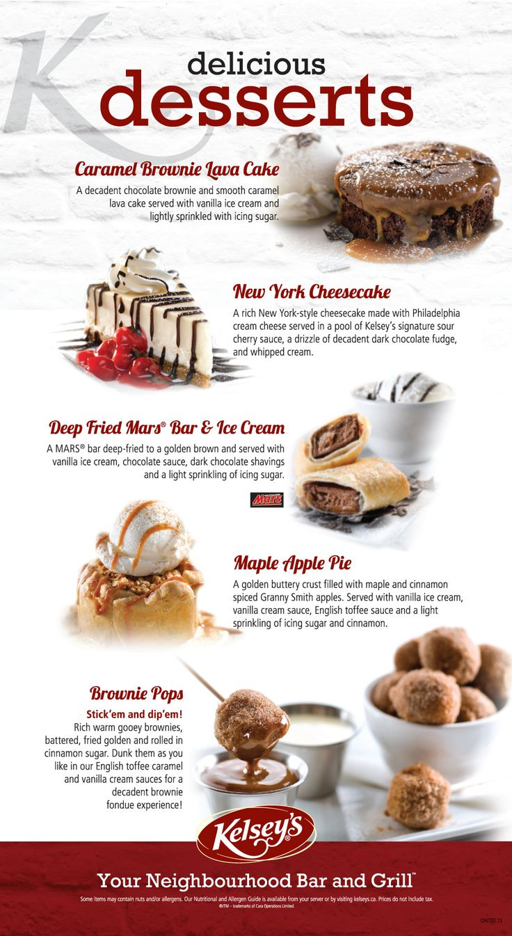 Pin By Fast Food Haven On Menus Pinterest Desserts And