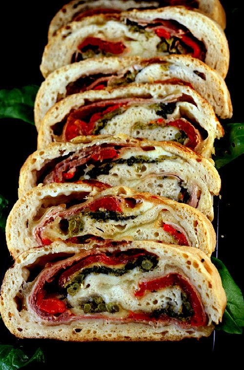 Three Cheese Prosciutto, Roasted Red Pepper, Broccoli Rabe Stromboli.