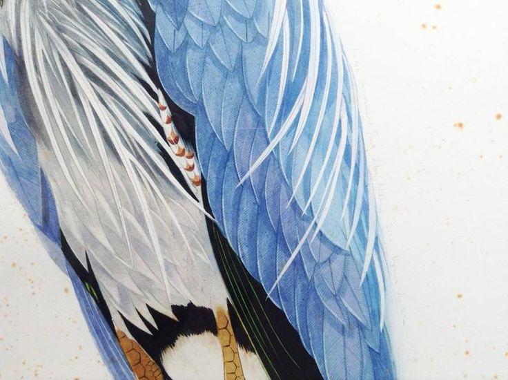 Scott Kelley - Great Blue Heron, facing left For Sale at 1stdibs