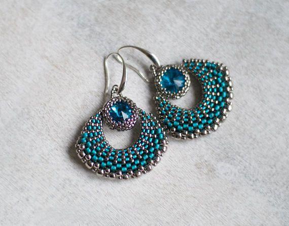 Teal Fan Earrings Crescent Moon Earrings Teal Blue Earrings