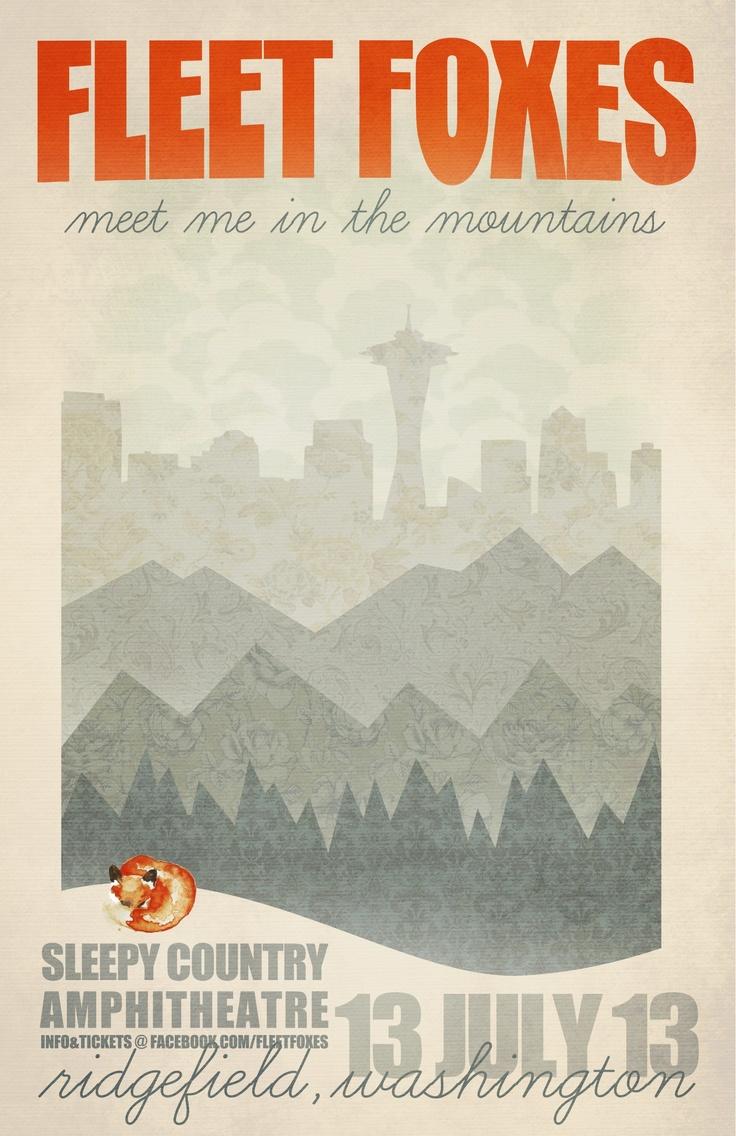 fleet foxes concert poster | bee tea dubs photography and design, facebook.com/beeteadubs