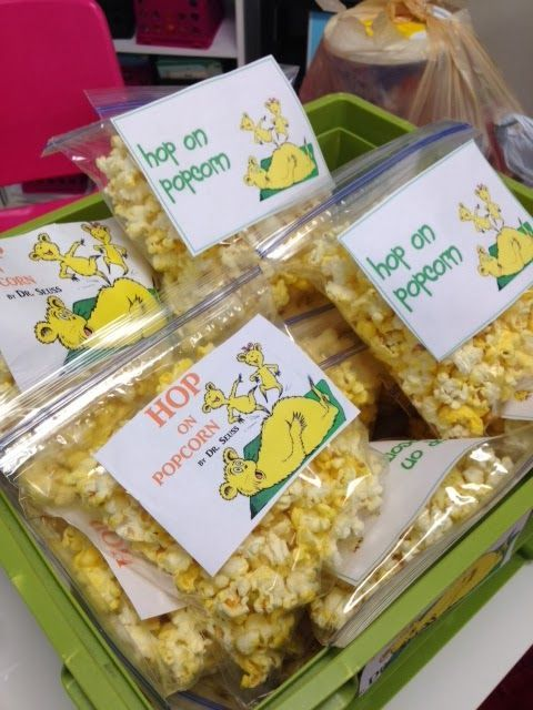 Dr. Seuss snacks - hop on popcorn, Lorax oranges, etc.