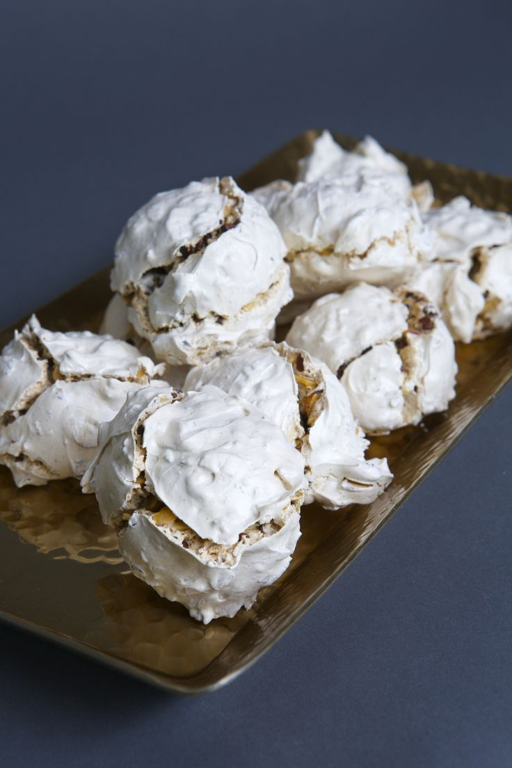 Almond Mocha Nibs meringue cookies.  The perfect mix of a crunchy and chewy cookie .