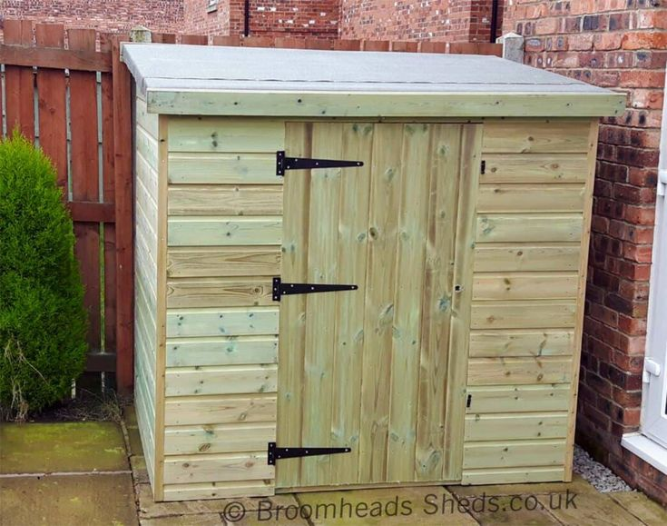 Height 4ft 6in: Pent Store Shed 16mm Tanalised Timber Max Height 4ft 6in. Double doors or Single door either in the width or depth