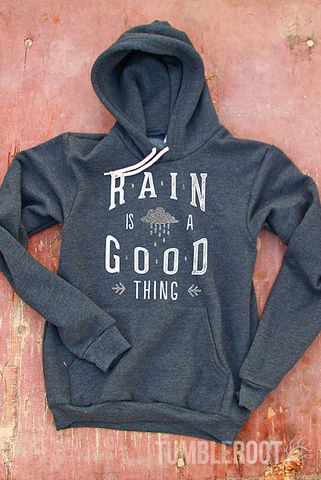 This sweatshirt makes you happy when skies are grey! It's the perfect shirt for curling up in front of a fire with a cup of your favorite warm beverage on a cold winter day. This original TumbleRoot d