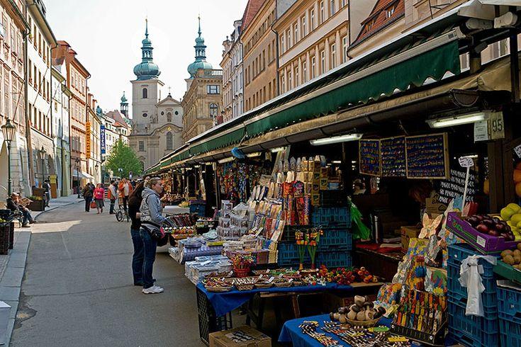 havelska market prague   Havelská street market and St. Gall church