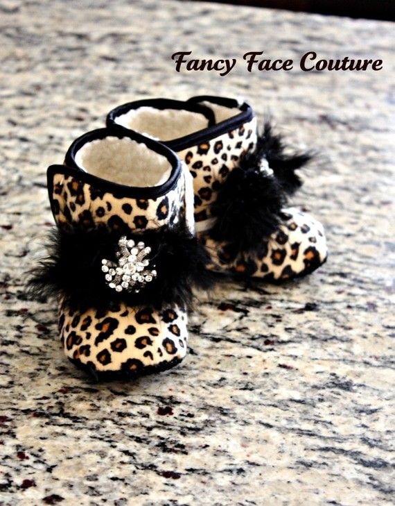 Boutique Leopard Booties with Vintage Crystal Center Size Newborn- 1 year - Baby Shower Gift. $19.99, via Etsy.