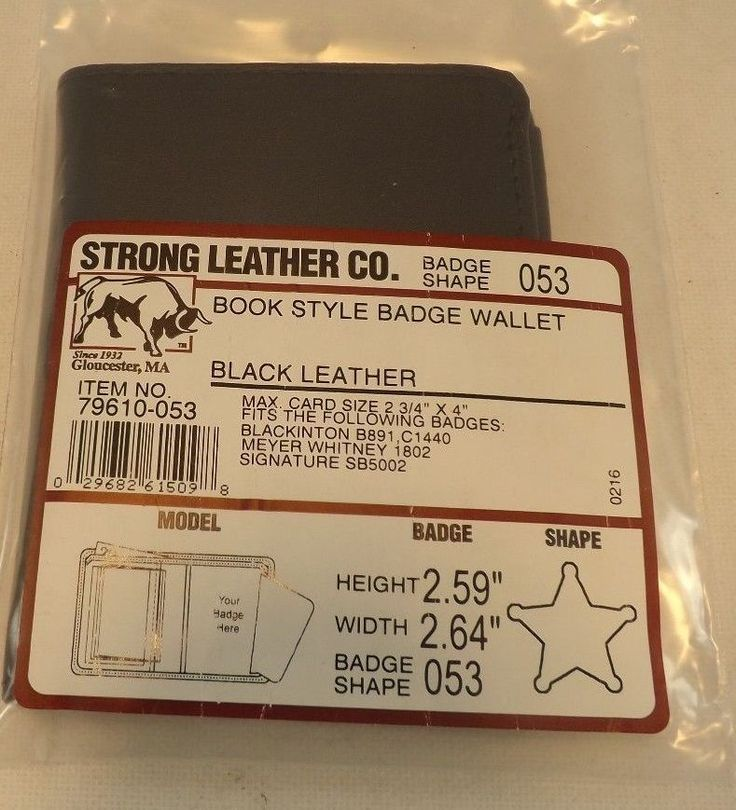 Strong Leather Company Book Style Badge Wallet Black Leather 79610-053 #StrongLeatherCo