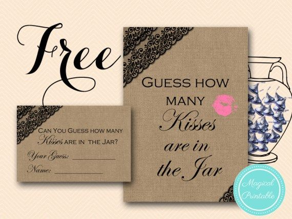 Free Black Lace Burlap How Many Kisses in the Jar Game - Bridal Shower Ideas - Themes