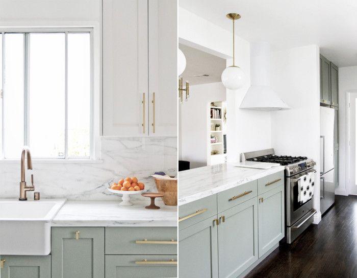 Det går inte att misslyckas med kombon mintgrönt, marmor och metall. Kök från IKEA