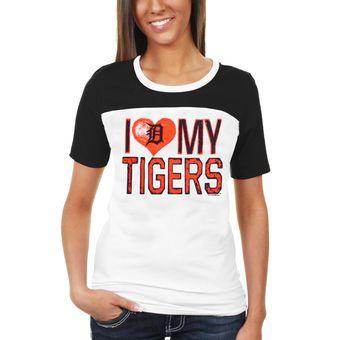 Detroit Tigers Women's Baby Jersey I Love My Team T-Shirt - White/Navy Blue