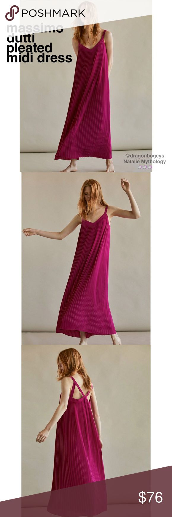 """Massimo Dutti Pleated Midi Dress Beautiful brand new with tags dress from Massimo Dutti Spain. This vibrant fuchsia colored frock features a flowy fit with accordion pleating and cutout shoulders. Fully lined. Outer fabric is 100% polyester. Lining is 100% viscose. Length is 53"""", bust is 15"""" laid flat. Material does not provide stretch. New with tags, tried on but never worn. Massimo Dutti Dresses Midi"""