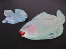 vintage chalkware fish wall plaques - Bedroom Wall Plaques