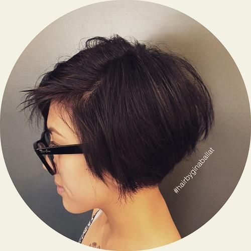 Wispy Stacked Layers Wispy, layered hair gets a volume boost. If you're wondering what a risk-free graduated bob is, this hairstyle is a great choice. It's angled without being extreme. You will quickly learn how to style a graduated bob with little to no effort.