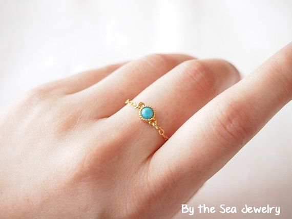 Delicate gold filled chain turquoise Swarovski by BytheSeajewel, $18.00