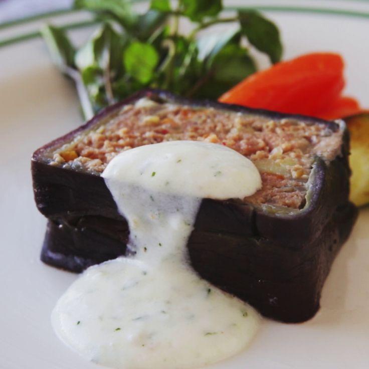 Eggplant Moussaka With Yogurt Sauce