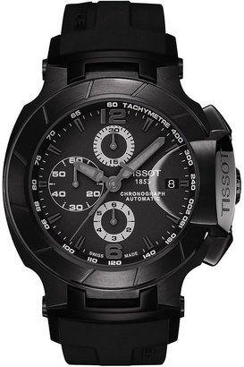 Tissot Watch, Men's Swiss Automatic Chronograph T-Race Black Rubber Strap T0484273705700 - ShopStyle