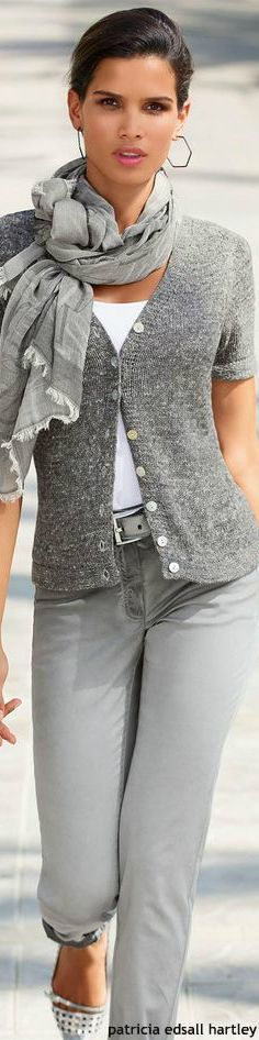 Like scarf with simple grey sweater/grey jeans and white tank - Madeleine
