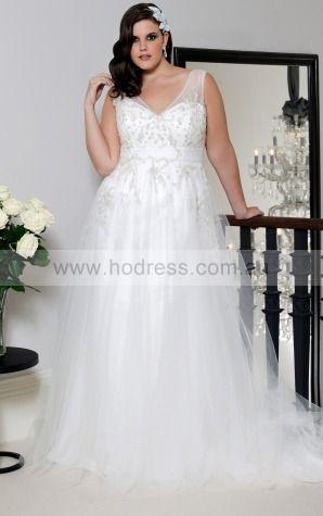 V-neck Tulle Empire Lace-up Wedding Dresses gocf1055--Hodress