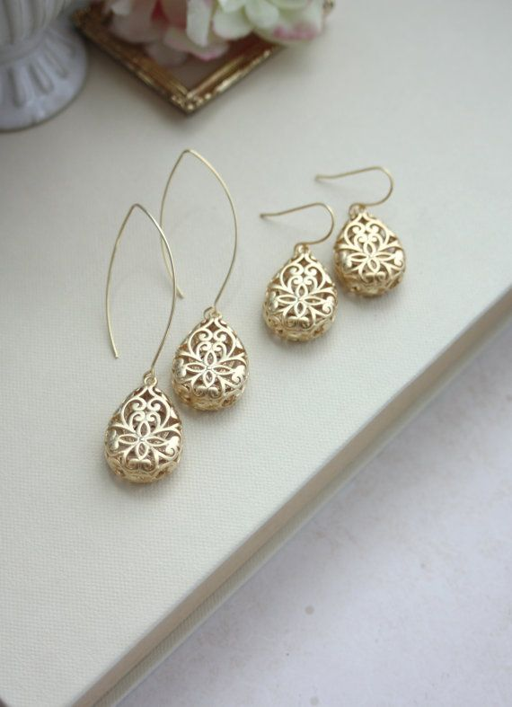 Gold-filigrane Ohrringe. Gold Lace Ohrringe Ohrringe von Marolsha