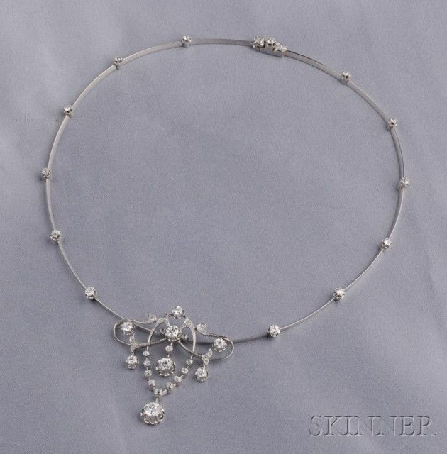 Edwardian Platinum and Diamond Necklace, Tiffany & Co. | Sale Number 2487, Lot Number 497 | Skinner Auctioneers