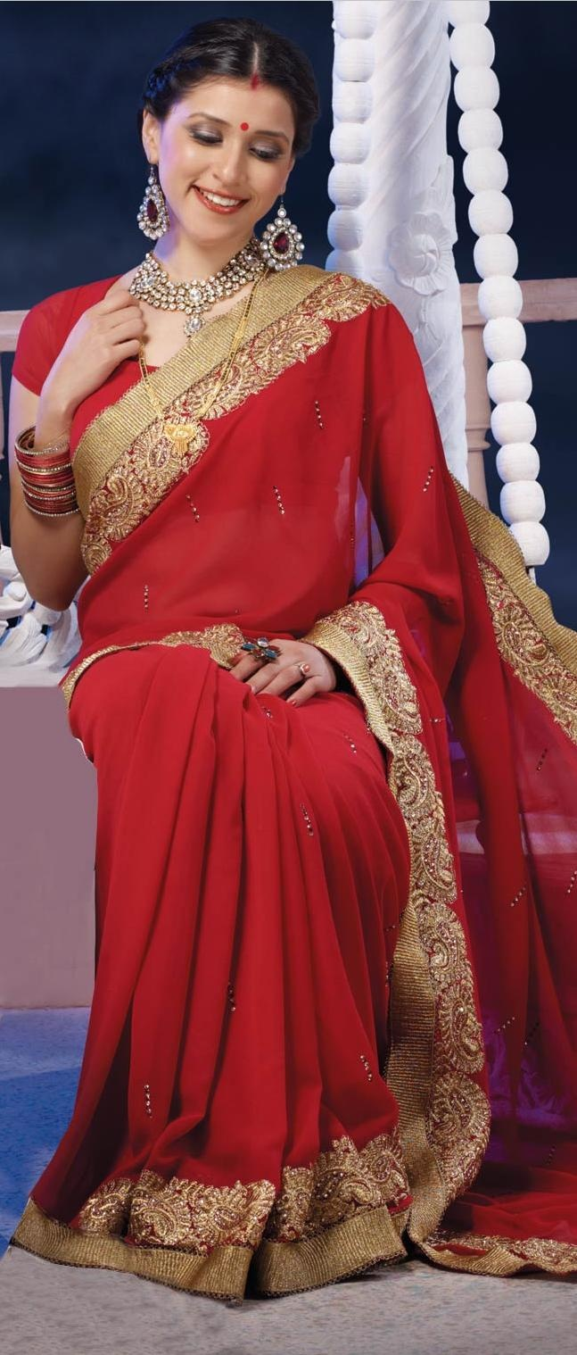 #Red Faux #Chiffon #Saree with #Blouse
