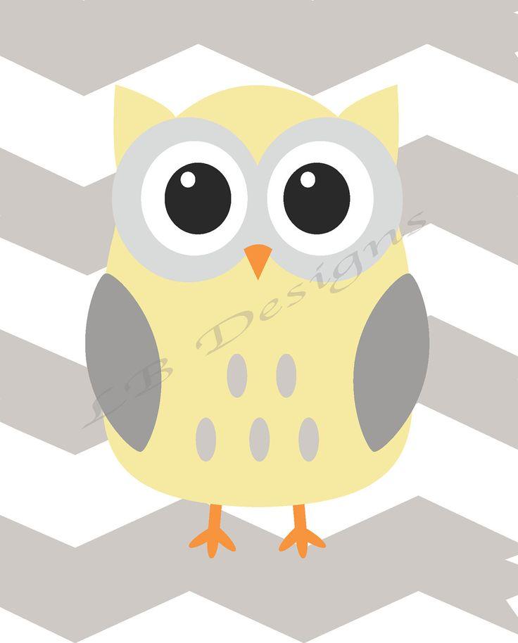 Gray and Yellow Chevron Owl Nursery Print - 8x10. $8.00, via Etsy.