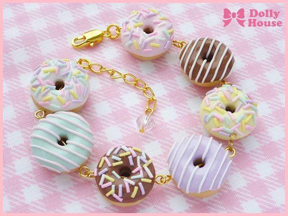 Kawaii Fairy-kei Cute Bracelet -Sweet Donuts- by Dolly House #handmade#ornamention