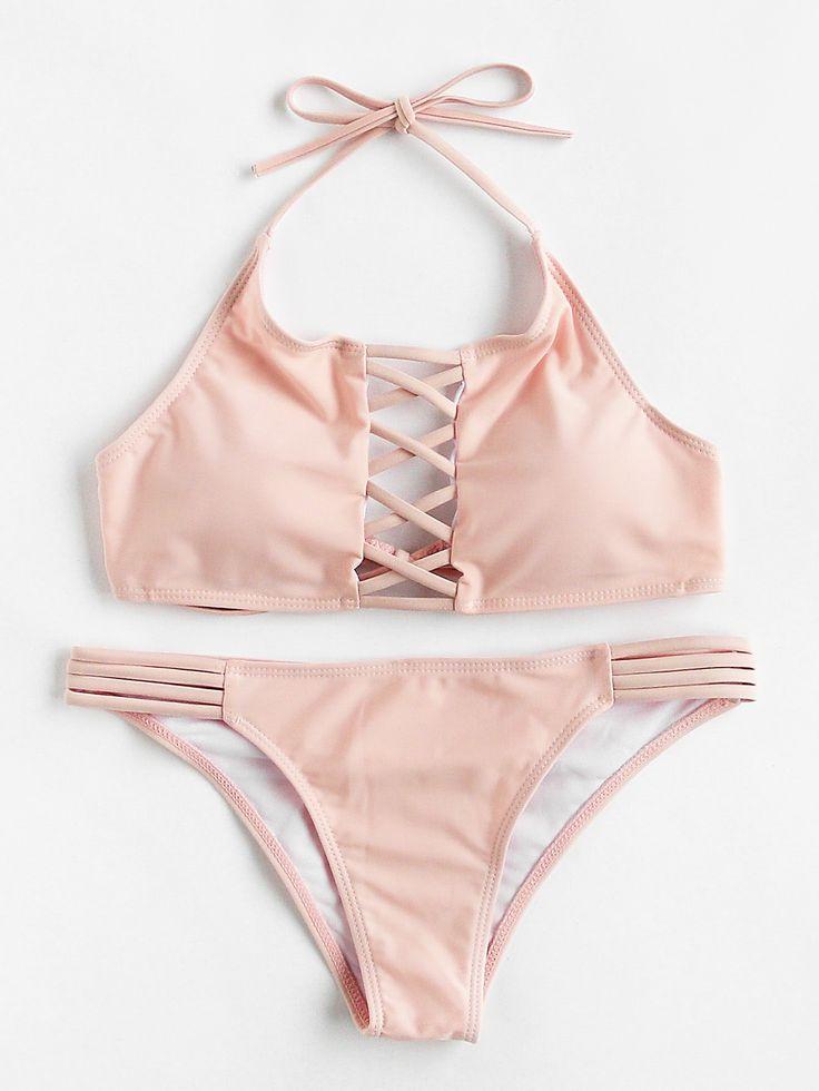 Shop Criss Cross Ladder Cutout Halter Bikini Set online. SheIn offers Criss Cross Ladder Cutout Halter Bikini Set & more to fit your fashionable needs.