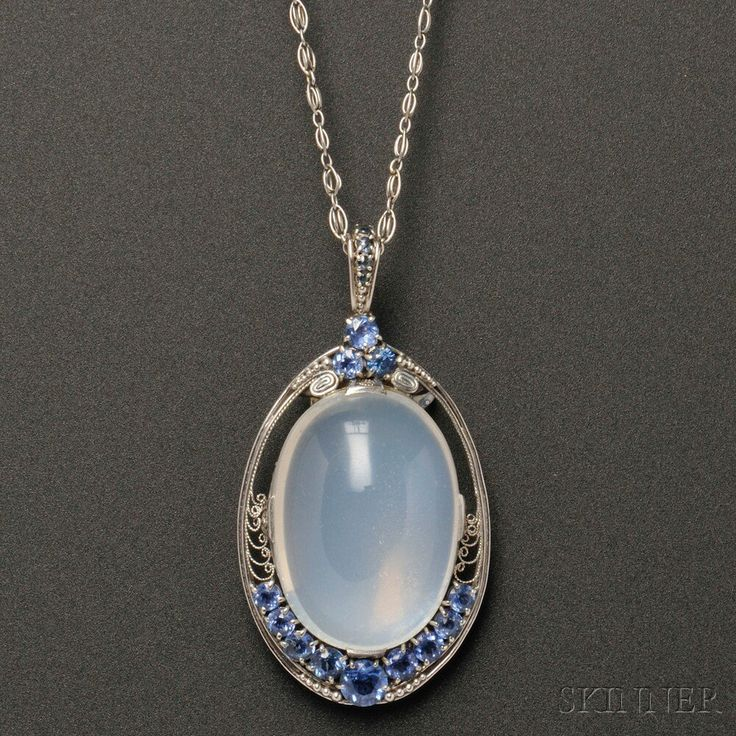 Arts & Crafts Platinum, Moonstone, and Sapphire Pendant, Tiffany & Co. | Sale Number 2659B, Lot Number 511 | Skinner Auctioneers