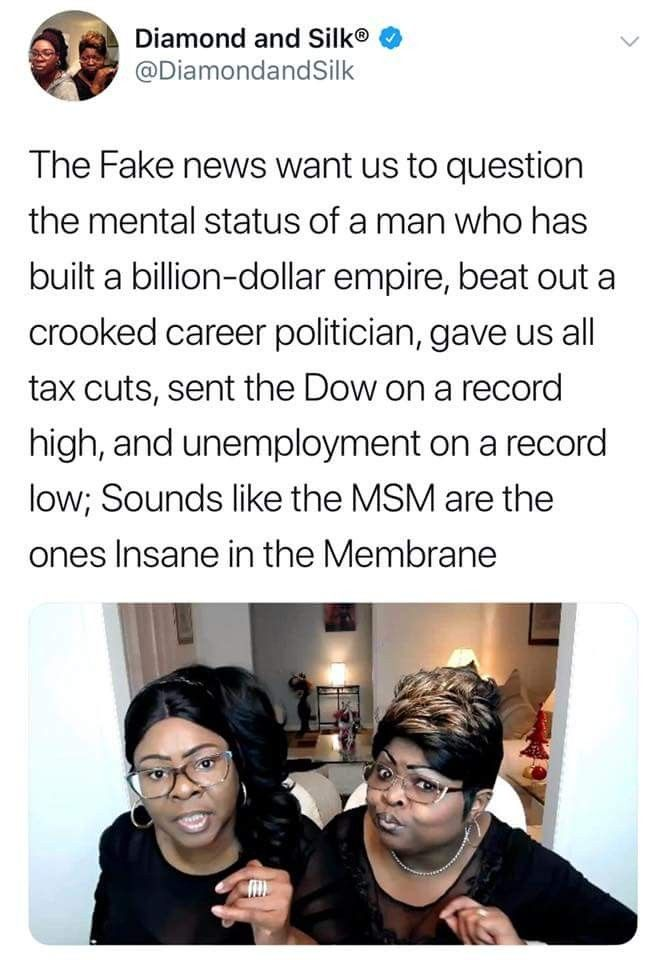 I Love Diamond and Silk!!! They are Very smart ladies!!!