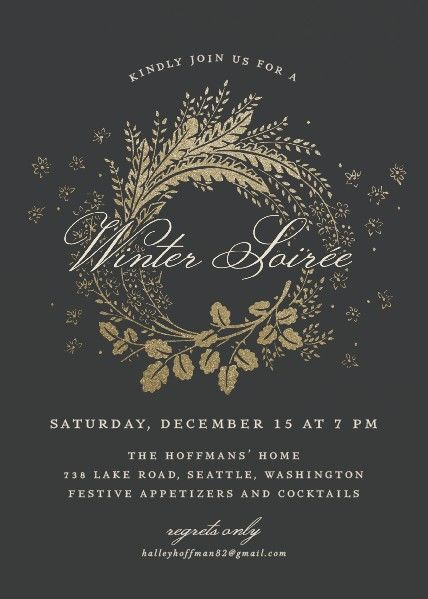 Winter Soiree holiday party invite for hosting an elegant holiday affair!