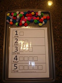 Math- Interactive way for children to begin to understand their numbers (both written and quantity) and practice one to one correspondence. Children have the chance to use the same colour for each number or a variety of colours. Can increase the numbers once children have mastered 1-5.