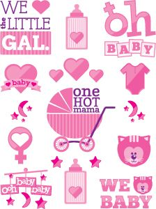 Baby Shower - It's a Girl! Temporary Tattoos Sheet