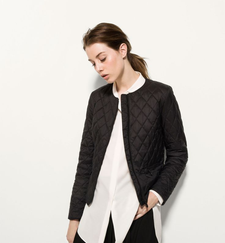BLACK COLLARLESS QUILTED JACKET | chaquetas