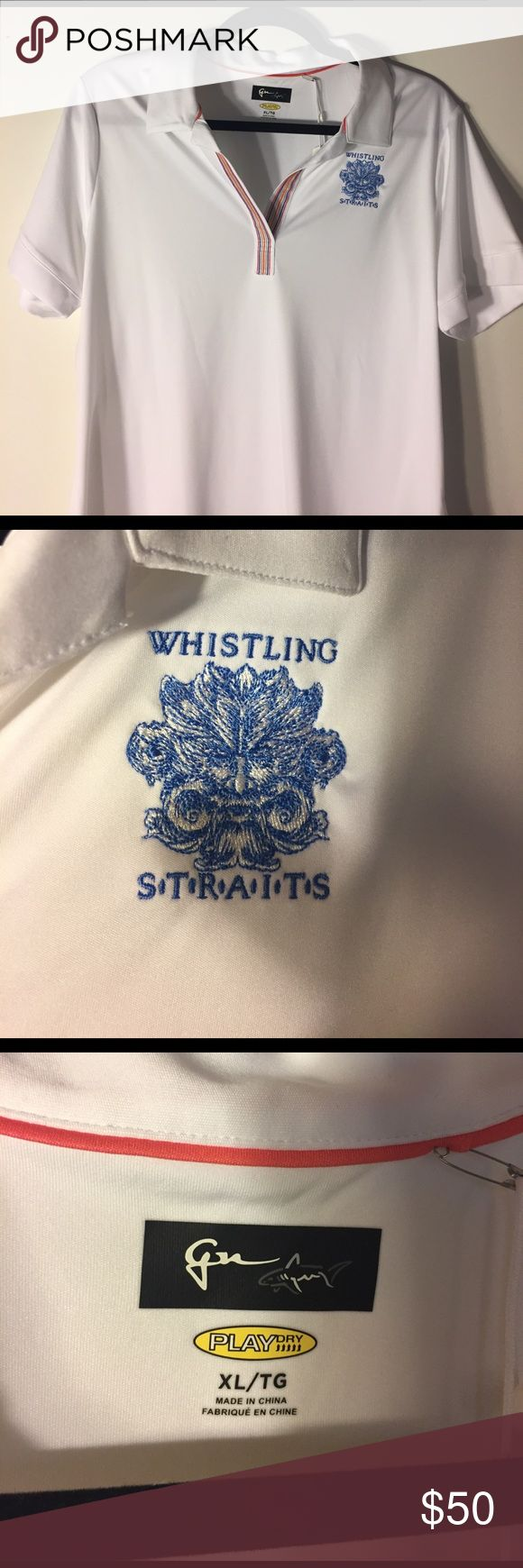 Whistling straits womens golf shirt XL Whistling straits logo women's golf/sport shirt. White microfiber sweat wicking fabric. NWT. Make an offer. Tops