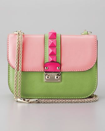 Glam Lock Small Bag, Light Pink/Green by Valentino.