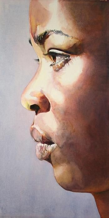 Close-up look at a young black girl in profile, a watercolor finished with acrylic archival varnish..
