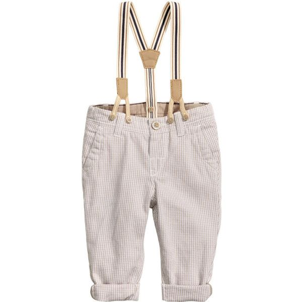 Checked Pants with Suspenders $17.99 ($18) ❤ liked on Polyvore featuring pants, cotton elastic waist pants, elastic waist pants, button fly pants, checkerboard pants and checked trousers