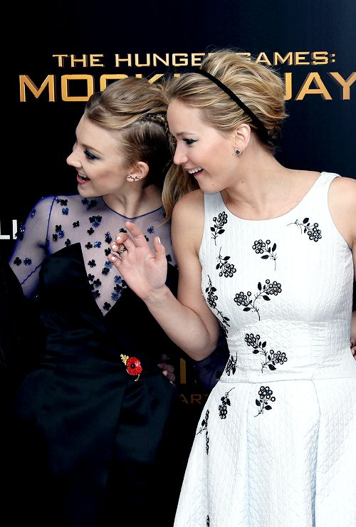 Jennifer Lawrence and Natalie Dormer attend the World Premiere of The Hunger Games: Mockingjay Part 1 at Odeon Leicester Square on November 10, 2014 in London, England.