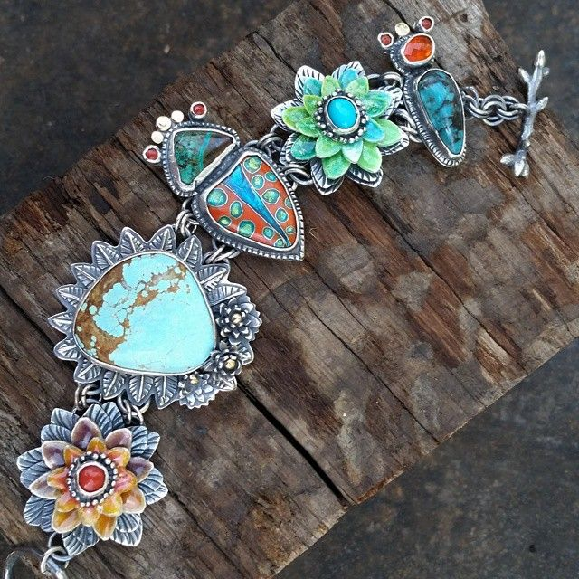 Bracelet by Kristin Holeman | There are so many stones here: #8 turquoise…
