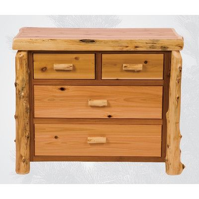 Traditional Cedar Log 4 Drawer Dresser Finish: Vintage with Value Drawers - http://delanico.com/dressers/traditional-cedar-log-4-drawer-dresser-finish-vintage-with-value-drawers-493493065/