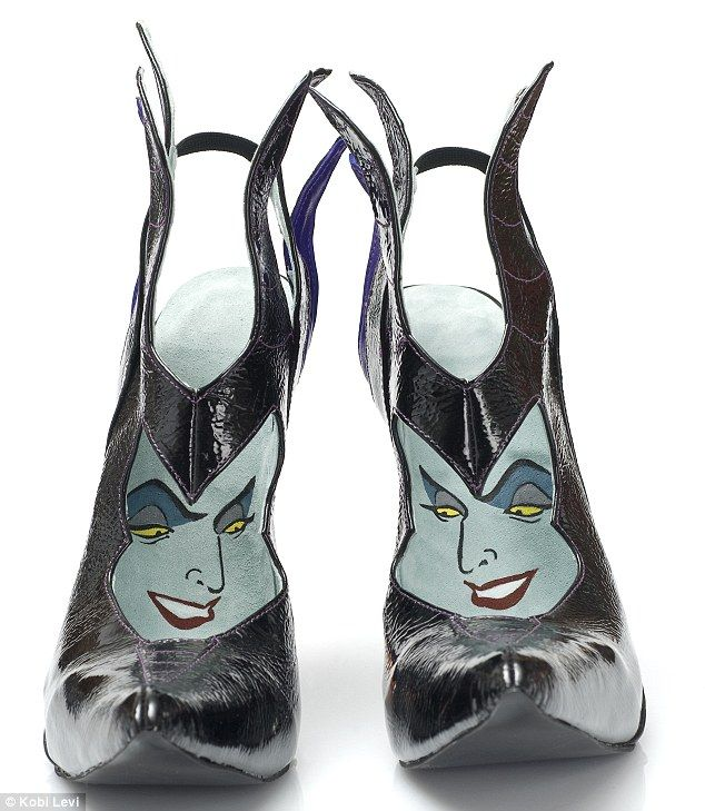 Quikry: There is a pair of Maleficent shoes which are shiny black  pointy-toed