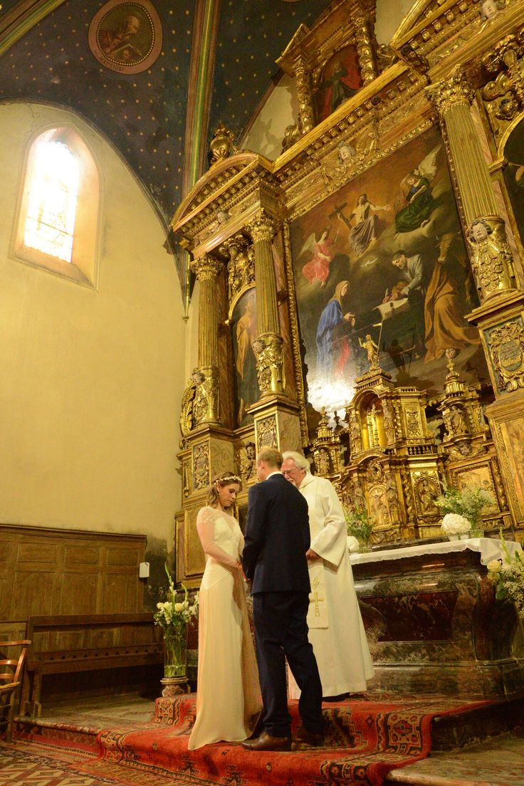 Bride and Groom at the altar at St Luc's church, Ginestas