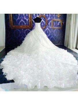 Halter Appliques Ruffles Ball Gown Wedding Dress